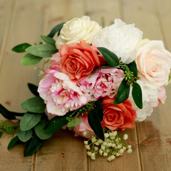 Spring Silk Wedding Bouquet in Coral, Blush, and Ivory with Roses, Peony, Ranunculus, and Seeded Eucalyptus