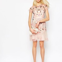 Needle & Thread Floral Tiered Embellished Dress at asos.com