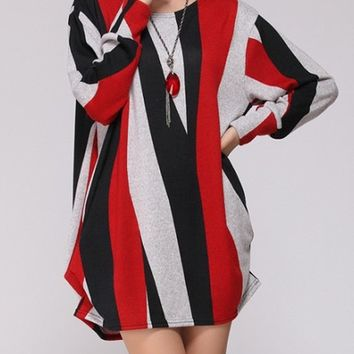 Streetstyle  Casual Color Block Vertical Striped Round Neck Plus Size T-Shirt