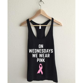 On Wednesdays We Wear Pink Ribbon  Racerback Tank Top