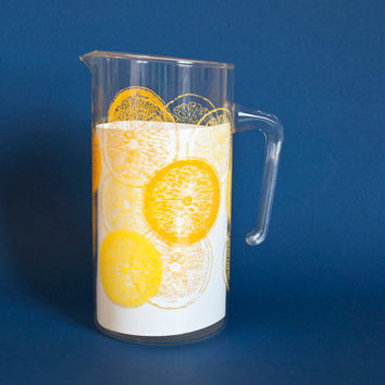 Vintage Pyrex Citrus Pitcher, Lemon and Orange Print Juice Carafe, Glass Handle, Made in USA