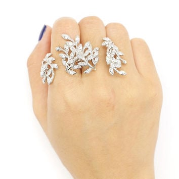 Silver Rhinestone Leaf Shape Open Linked Ring Pack