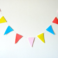 Colourful Triangle Garland - Felt Bunting, Felt Garland, bright home decor, pink, yellow, blue