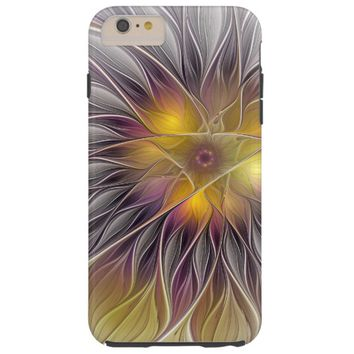 Luminous Colorful Flower, Abstract Modern Fractal Tough iPhone 6 Plus Case