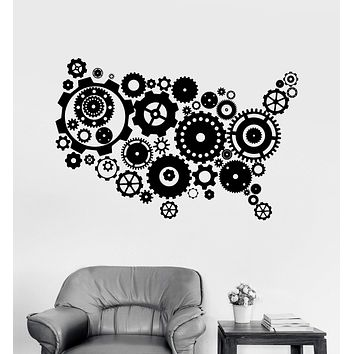 Vinyl Wall Decal USA Map Gears United States Patriotic Art Stickers Unique Gift (ig3997)