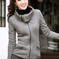 Korean Fashion Leisure Style Fit Ladies Jackets Gray : Wholesaleclothing4u.com