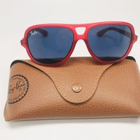 New Ray Ban Jr KIDS RJ9059S 197/80 Matte Red Sunglass w/Blue Lenses 50mm w/Case