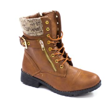 Sweater Cuff Lace Up Ankle Combat Boots Brown | Danice Stores