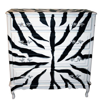 Vintage, French Provincial-style Zebra Chest-of-Drawers