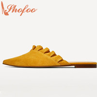 Sexy Mules Shoes 2017 Yellow Ruffles Low Heels Clogs Women Luxury Brands Shofoo New Designer Superstar Shoes Large Size 4-16