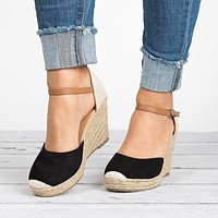 Ankle Strap Platform Sandals Wedges Summer Shoes