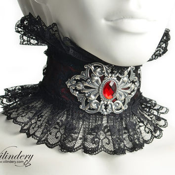 Red Choker with red glass crystal - Victorian fantasy jewelry with big filigree, Red Steampunk Wedding necklace, Back lace collar, Vampire