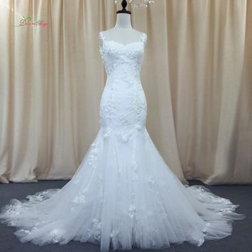 Dream Angel Sexy Backless Sweetheart Lace Mermaid Wedding Dresses 2018 Appliques Beaded Bride dress Robe De Mariage Plus Size