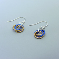 Sterling Silver Blue and Gold Mobius Flower Earrings