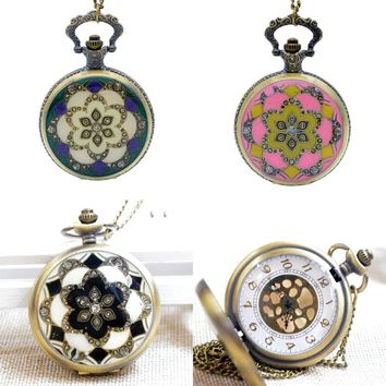 New Fashion Bronze White/Purple&White Crystal Flower Quartz Pocket Watch Analog Pendant Necklace Mens Womens Watches Gift