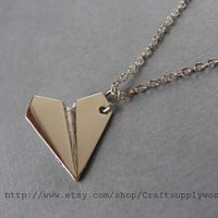 Necklace-One Direction paper airplane Necklace, Harry Style Paper Airplane Necklace