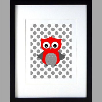 Red Gray Owl on Gray Dots Nursery Decor Baby Print Animals Art CUSTOMIZE YOUR COLORS 8x10 Prints Nursery Decor Art Baby Room Decor Kids