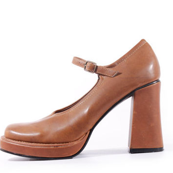 5e8270b54dd9 90s Vintage Platform Mary Janes Tan Vegan Leather Chunky Heel Pr