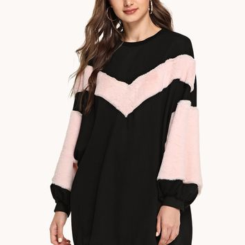 Multicolor Two Tone Cut And Sew Sweat Shirt Dress
