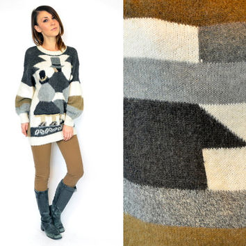 earthy PERUVIAN boho hippie 100% ALPACA ethnic native knitted SWEATER jumper, extra small-medium