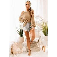 Someday Soon Cold Shoulder Sweater (Taupe)