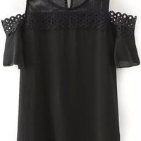 Black Off Shoulder Crochet Lace Patchwork Top