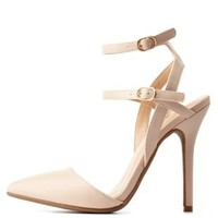 Nude Strappy Ankle Pointed Toe D'Orsay Pumps by Charlotte Russe
