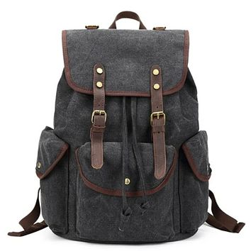 Waxed Canvas with Leather Trim School Backpack