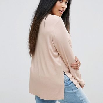 ASOS CURVE Tunic Top With Side Splits And Curve Hem at asos.com