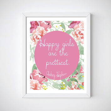 Audrey Hepburn Wall Art, Happy Girls Quote, Pink Nursery Decor, Nursery Wall Decor, Unique Baby Shower Gifts, New Mom Gifts, Girl Room Decor