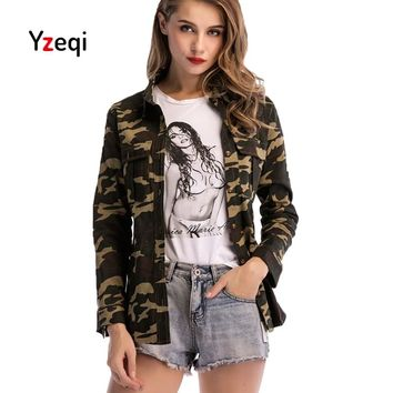 Yzeqi Women Military Camouflage Jackets 2018 Denim Jacket Casual Female Casual Pockets Slim Single Breasted Outerwear