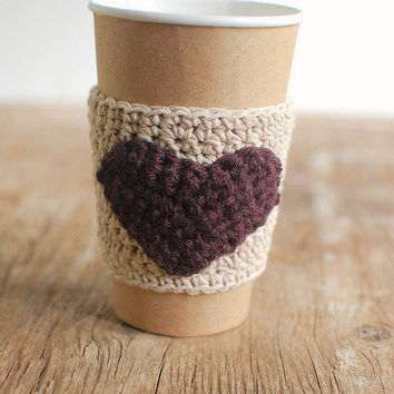 Heart Coffee sleeve cup cozy Beer Koozie natural by thecozyproject