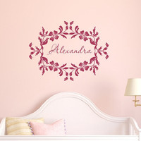 Nursery Baby Girl Name Vinyl Wall Decal - Floral Frame Decal - Personalized Room Decor - Nursery Wall Decor 22534
