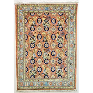 Oriental Veramin Persian Tribal Rug, Orange/Dark Blue