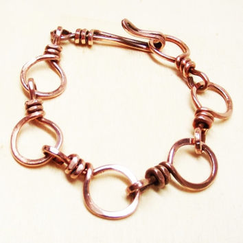 Handforged Copper Wire Hammered Twisted Link Bracelet