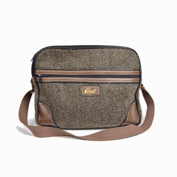 Vintage Brown Tweed Weekender Bag  / Overnight Travel Bag