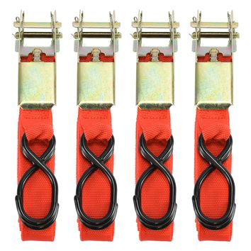 "4 Pc 1"" X 15 Foot Ratchet Tie Down Load Binder Cargo Towing Tow Straps Truck Bed"