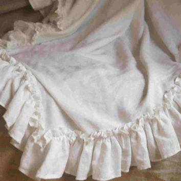 Vintage Style Linen Ruffle Bed Throw, 2 rows of ruffles, Ruffle bedding, linen bedding 54x54, Shabby Chic bedding