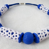 White blue Hollow  bead polymer clay jewelry Women openwork bead Lace white bead Air bead Large hole white blue necklace, unique lace bead