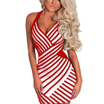 Red and White Mesh Halterneck Dress