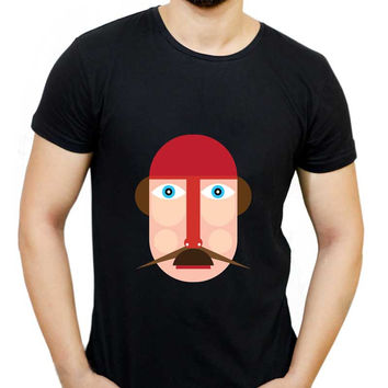 Graphic Guy Moustache Illustration Charact T-Shirt