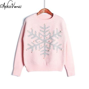 Winter Sweater Women Pullover Candy Color Christmas Sweater Character Snow Pullover Jumper Knitted Sweater Femme Fall 2017Poncho