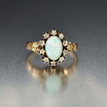 Edwardian Gold Diamond and Opal Ring