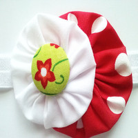 Red fabric flower headband - infant toddler white head band with lime green button center - white elastic band - photo prop