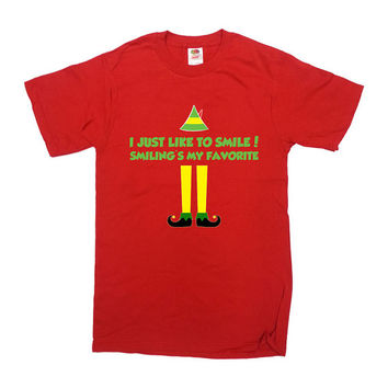 Buddy The Elf Shirt I Just Like To Smile Smiling Is My Favorite T-Shirt Christmas Shirt Merry Christmas Elf Mens Ladies Tee - SA406