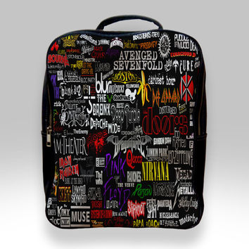 Backpack for Student - Colorful Rock Band Logos Bags