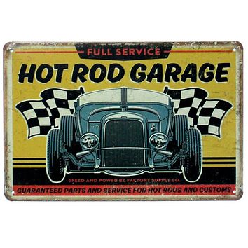 [ Mike86 ] HOT ROD GARAGE Wall Painting Metal Craft Retro Gift Pub room Tin Sign Decoration 20X30 CM AA-894