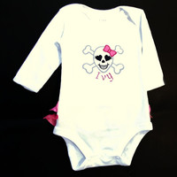 Punk Glam Baby , Ruffle Butt , Pink Skull Body Suit. Personalized.