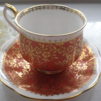 Royal Albert Marlborough Teacup Saucer Orange Gold Chintz Bone China 1960 Art Deco Tea Party Collectible Bridal Wedding Mother's Day Gift