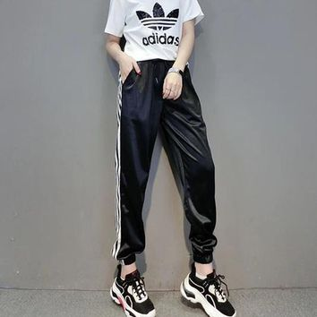 """Adidas"" Women Sport Casual Letter Logo Print Multicolor Short Sleeve  Trousers Set Two-Piece Sportswear"